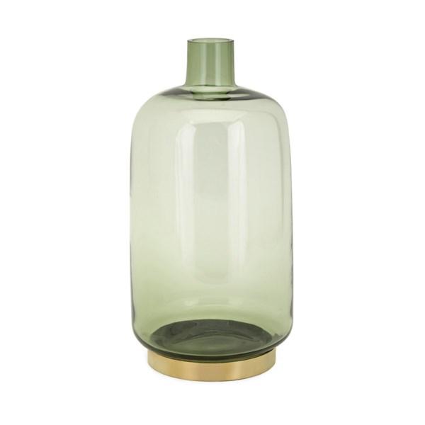 Sage Large Glass and Metal Vase