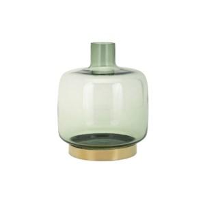 Sage Small Glass and Metal Vase