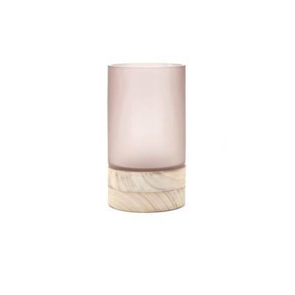 Crystine Short Glass and Wood Vase