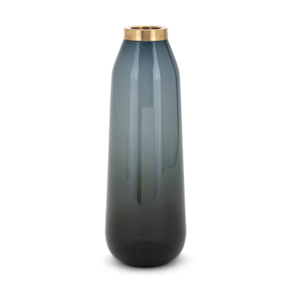 Denim Large Glass and Metal Vase