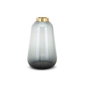 Denim Medium Glass and Metal Vase
