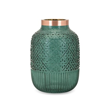 Caper Large Glass and Metal Vase