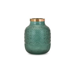 Caper Small Glass and Metal Vase