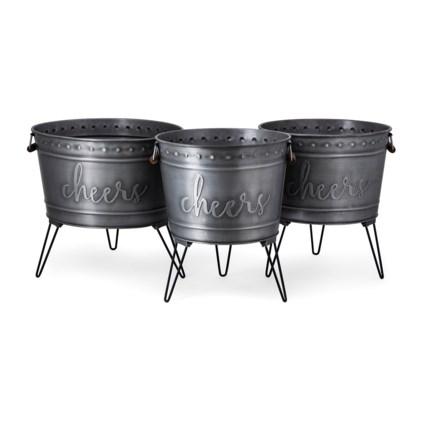 Galvanized Cheers Beverage Tub - Set of 3