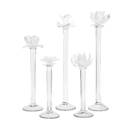 Monie Glass Flower Statuaries - Set of 5
