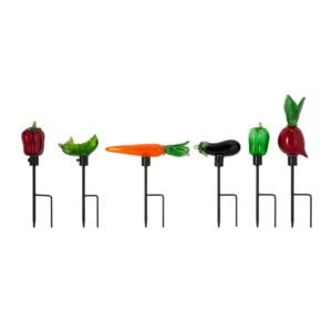 Veggie Art Glass Garden Stakes - Set of 6