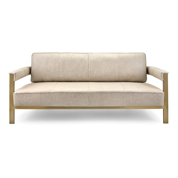 NK Aston Top Grain Leather And Stainless Steel Sofa - Nk ...