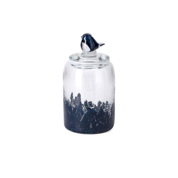 TY Bluebird Small Art Glass Canister