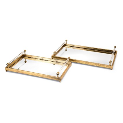 Carter Metal And Acrylic Decorative Trays Set Of 2