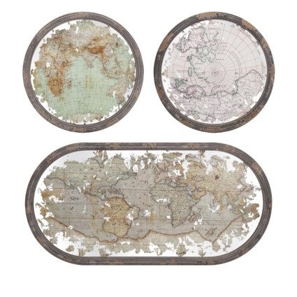 Mirrored Map Wall Decor - Set of 3