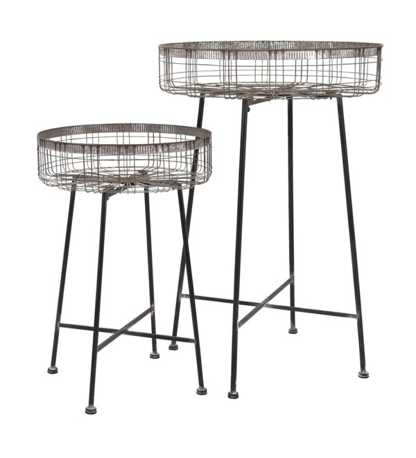 Pitzer Round Wire Plant Stands - Set of 2