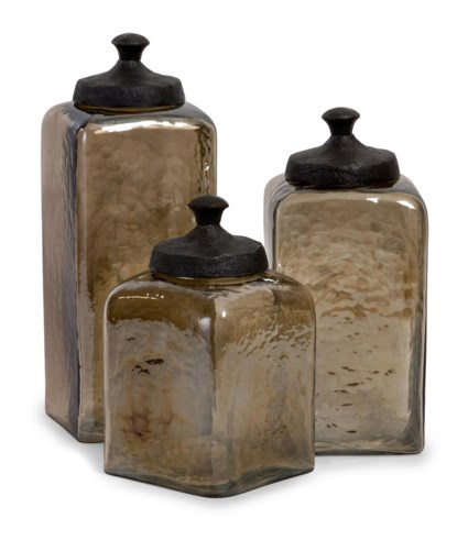 Square Brown Luster Lidded Containers - Set of 3