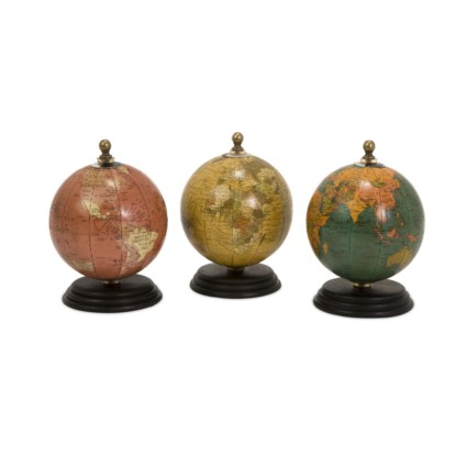 Antique Finish Mini Globes on Wood Base - Set of 3