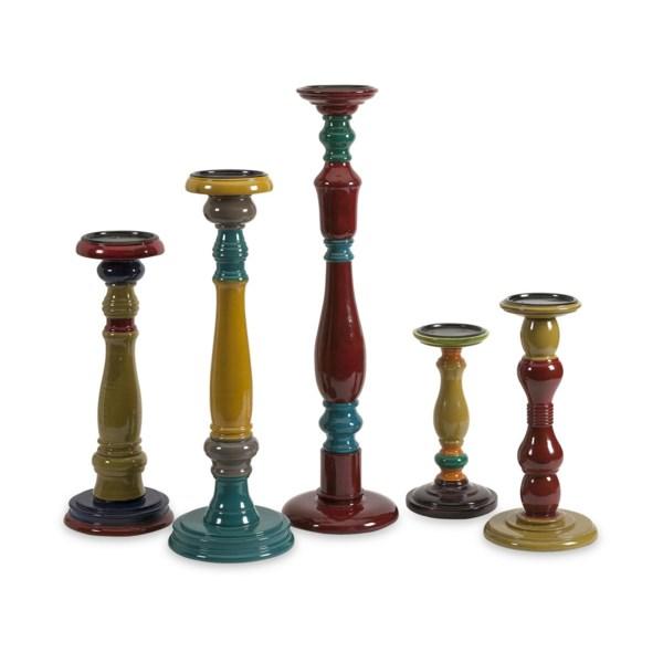 Jasper Wood Candleholders - Set of 5