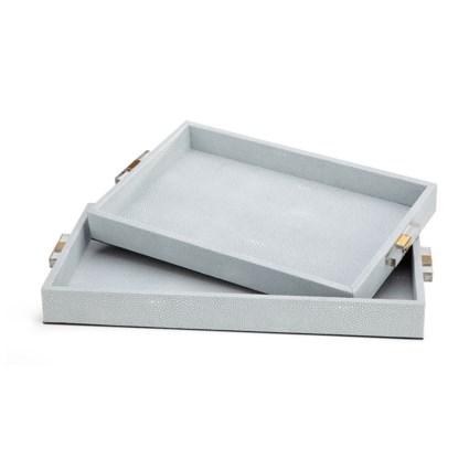 Misty Shagreen Trays - Set of 2