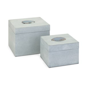 Misty Shagreen and Agate Boxes - Set of 2