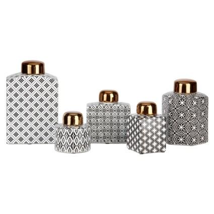 Tosia Ceramic Jars with Lids - Set of 5