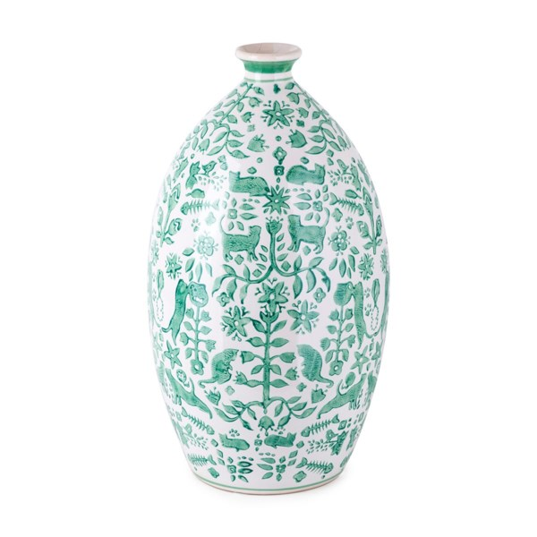 Otomi Green Handpainted Vase