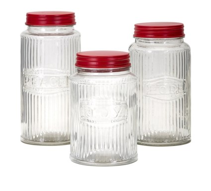 Homestead Christmas Glass Peace, Hope, Joy Jars - Set of 3
