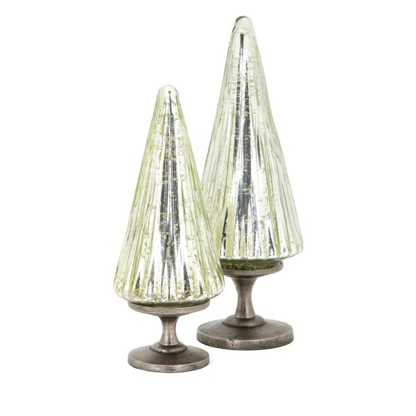 Christmas Silver Mercury Glass and Aluminum Trees - Set of 2