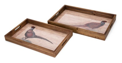 Harvest Pheasant Trays - Set of 2