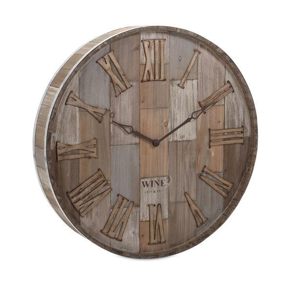 Wine Barrel Wood Wall Clock