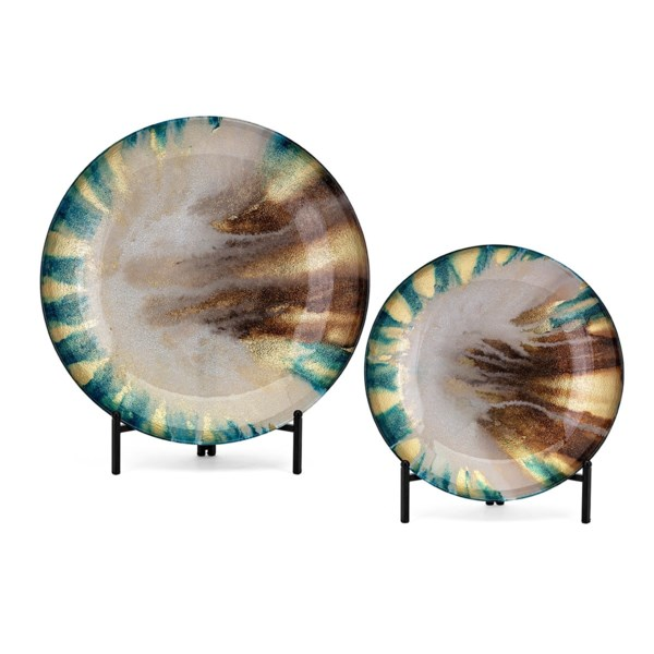 Jax Glass Chargers with Stand  - Set of 2