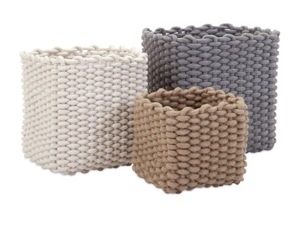 Natural Cotton Rope Baskets - Set of 3