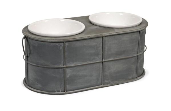 Casoria Pet Feeder with Ceramic Bowls