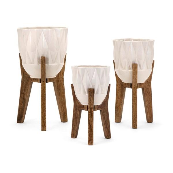 Ella Elaine Amara Vases on Wood Stands - Set of 3