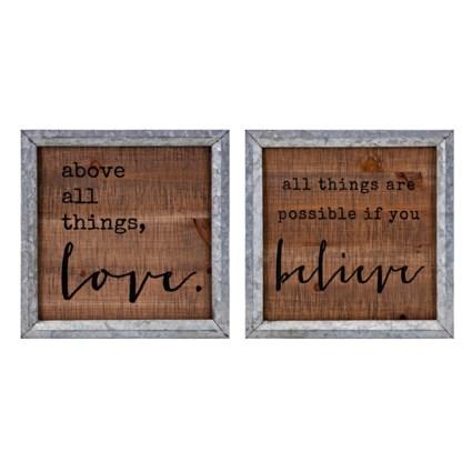 Believe in Love Wall Decor - Ast 2