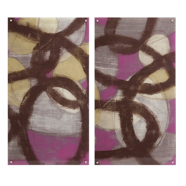 Fuchsia Links Acrylic Floating Wall Art - Ast 2