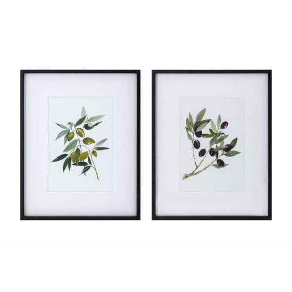 Olive Branch Under Glass Wall Decor - Ast 2