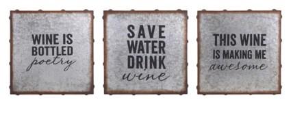 Maxwell Galvanized Wine Wall Decor - Ast 3