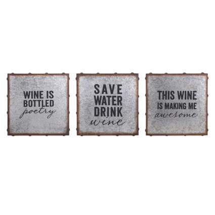 Maxwell Galvanized Wine Wall Decor - Ast 3