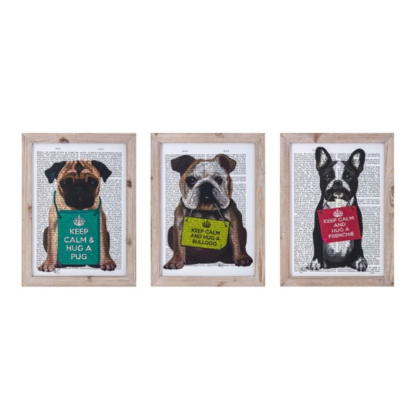 Whimsy Dogs Wall Decor - Ast 3