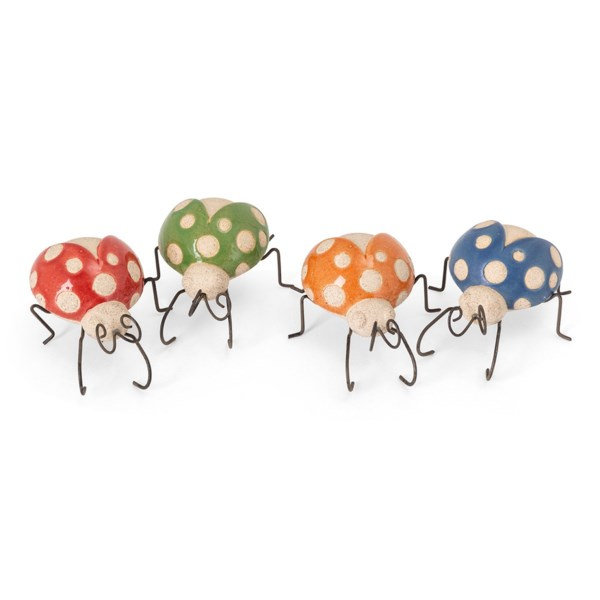 Farmstead Ceramic and Metal Ladybugs - Ast 4