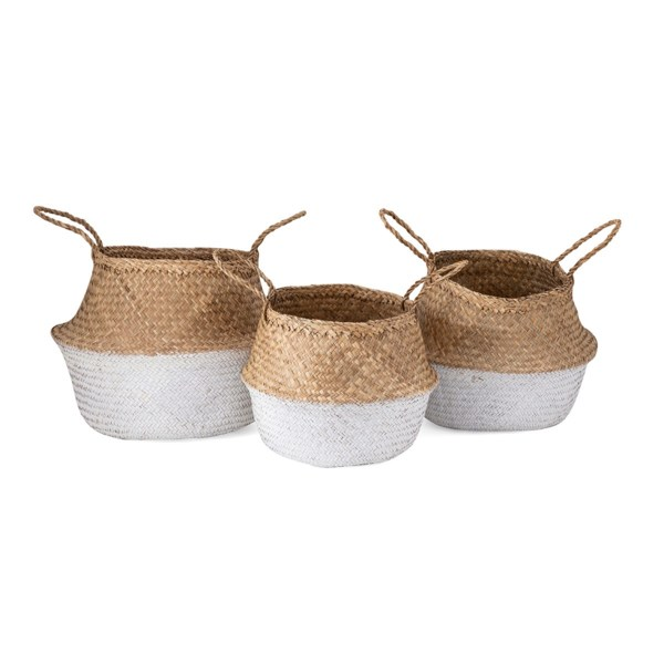 Jayden White Seagrass Baskets - Set of 3