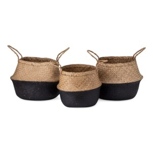 Jayden Black Seagrass Baskets - Set of 3