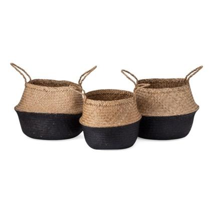 Jayden Black Seagrass Baskets - Set of 3