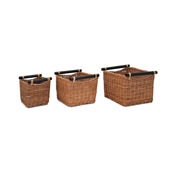 Rattan Baskets with Handles - Set of 3