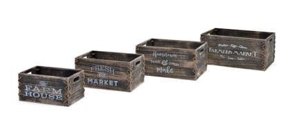 Country Market Crates - Set of 4