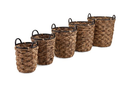 Tall Hoop and Handle Baskets - Set of 5