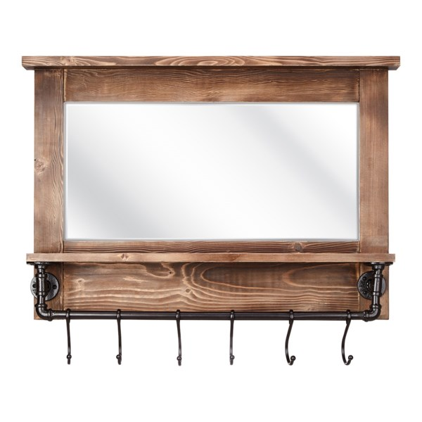afia wall mirror with shelf and hooks mirrors imax worldwide home. Black Bedroom Furniture Sets. Home Design Ideas