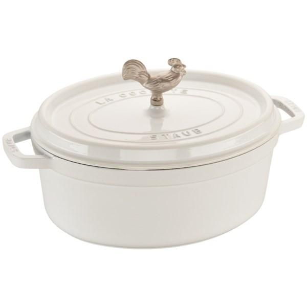 Staub Cast Iron 5.75 qt Coq au Vin Cocotte - White