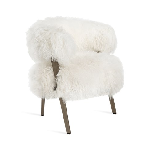Interlude Home - Adele Lounge Chair - Ivory Sheepskin