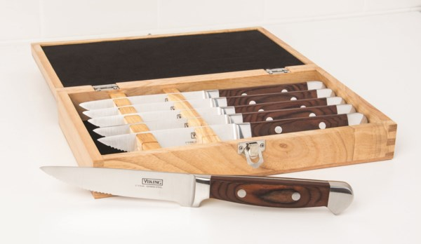 Viking Steakhouse Pakka Wood 6-piece Steak Knife Set with Commemorative Box