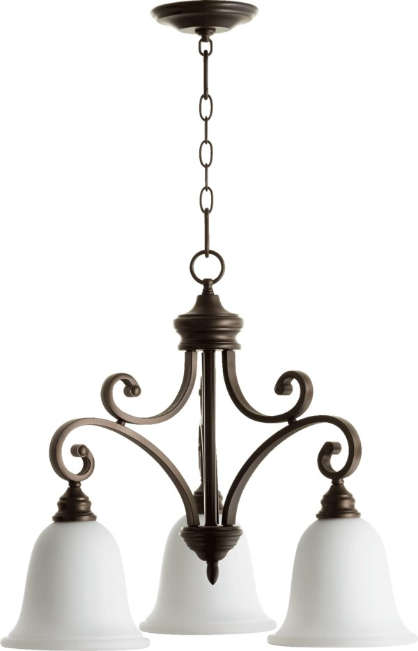 Quorum International Bryant Transitional 3 Light Nook In Oiled Bronze With Satin Opal Finish