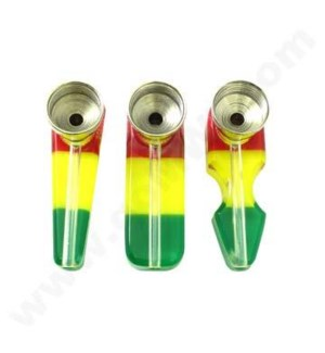 "DISC Acrylic Metal Pipe 2"" small Rasta/Clear"