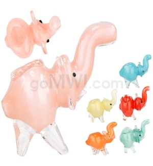 "I/O 2.5"" Elephant Animal Frit Pipe Assorted Colors"